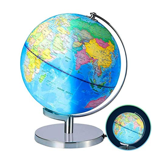 Illuminated World Globe for Kids with Stand - 9 Inch Diameter - World Globe for Kids Education with Built-in LED Lamp That Illuminates for Night Times