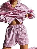 Conjunto de Conjunto de chándal Informal de 2 Piezas para Mujer Conjunto de Pantalones Cortos Sueltos de Camisa de Manga Larga a Rayas (Pink, Small)