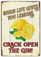 人生があなたにバークラブカフェファームの家の装飾アートポスターのためのレモンを与えるときのヴィンテージメタルティンサイン