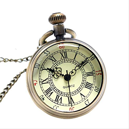 KUANDARGG Hombres Mujeres Colgante Collar Regalo Reloj De Bolsillo Reloj De Bolsillo De Estilo Antiguo Cara Abierta Números Romanos Cuarzo Steampunk, Style 1