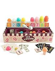 HEITIGN キッズアイスクリームプレイセット、数学および論理ゲームアイスクリームスクープゲームセット教育用ロールプレイゲームキッチンプレイハウスおもちゃ3?6歳の子供向け