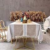 SUNBEAUTY Mantel Mesa Cuadrada Tela Algodon Lino con Borlas Mantel Antimanchas Elegante 140x140cm Table Cloth Square para Mesa de Comedor de Cocina