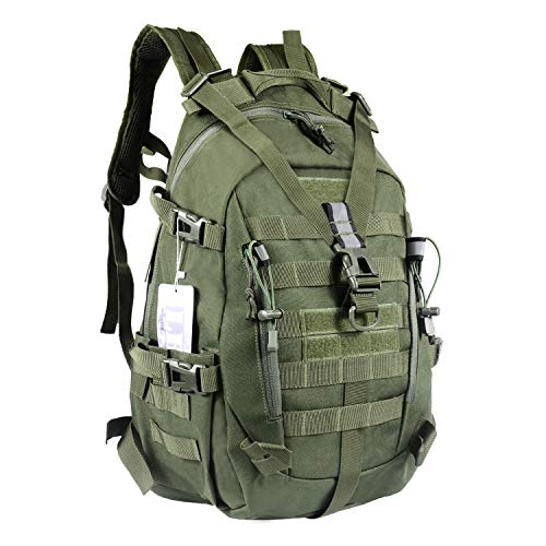 LHI Military Tactical Backpack for Men 35L Army Pack BugOut Bag Molle Rucksack with Reflector - Army Green