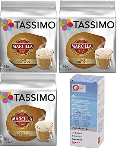 Tassimo Marcilla Café con Leche 48 cápsulas más 1 Descalcificador Bosch