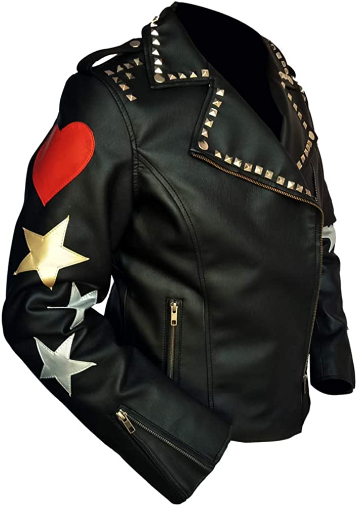 The Memphis In stock Mall Love Lady Stars Jackets Jacket Black Leather