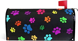BETTKEN Magnetic Mailbox Cover, Colorful Dog Cat Paw Print Mailbox Wrap Home Decor Art Post Letter Box Cover