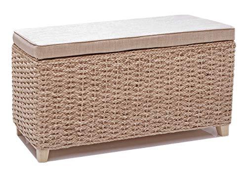 Taburete con espacio de almacenamiento,Banco para dormitorio,Color natural,tela de lino crema, 70x30x40cm