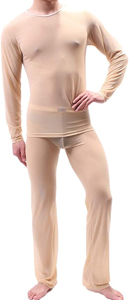 CHENGSHEN Sexy Men Pajamas Sets See Through Ice Silk T-Shirt & Pants Pajama Sexy Male Pajamas Sleepwear