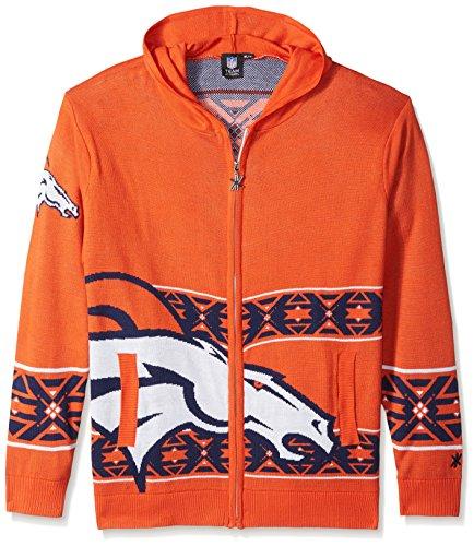 Denver Broncos Full Zip Hooded Sweater Medium