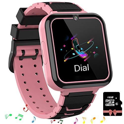 Smooce Kinder Smartwatch Telefon,Spiele Musik Smart Watch für Kinder,Kids Smart Watch mit SOS Anruf Kamera Spiele Wecker Musik Player für Jungen Mädchen (1GB Micro SD Enthalten (Pink)