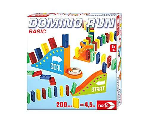 Noris Domino Run Basic 606065646 - Set di 200 pietre e una rampa per un parcour, a partire da 3 anni