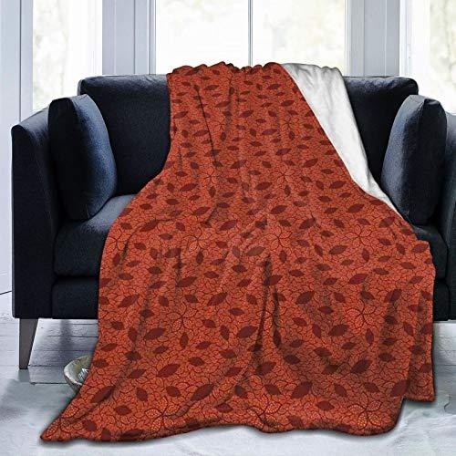 Manta de forro polar ultrasuave para adultos, con patrón de hojas con diseño de encaje victoriano inspirado en pétalos de flores, suave y cómoda manta de sofá de 80 x 60 pulgadas