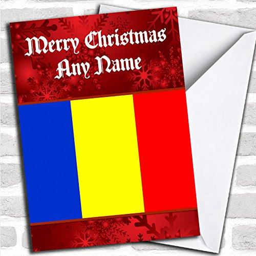 Roemeense vlag/Roemenië kerstkaart met envelop, kan volledig worden gepersonaliseerd, snel en gratis verzonden