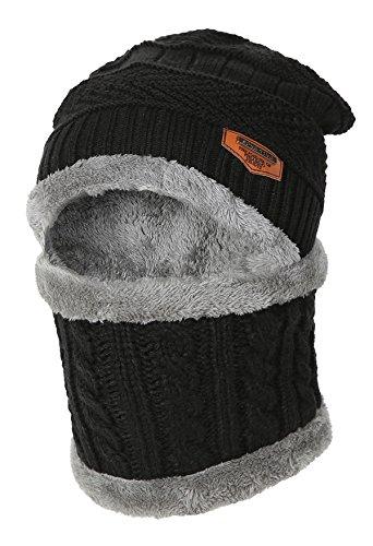 Bonnet Chaud d'hiver d'enfants avec Le Chapeau Tricoté d'écharpe Doux rayé.YR.Lover