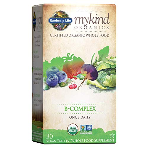 Garden of Life Mykind Organics Vitamin B Complex Once Daily, 30 Tablets, Vegan B Complex Vitamins with Folate, B12, Niacin, B6, Biotin, Organic Whole Food B Complex Supplement for Metabolism, Energy