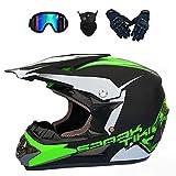 Motocross Helmet,Outdoor Full Face Dirt Bike Helmets ATV Offroad Adult&Youth Motorcycle Helmet SUV Dirt Bike Mountain Bike Helmet DOT Unisex Offroad Helmet (4 Piece Set) (Green, Large)