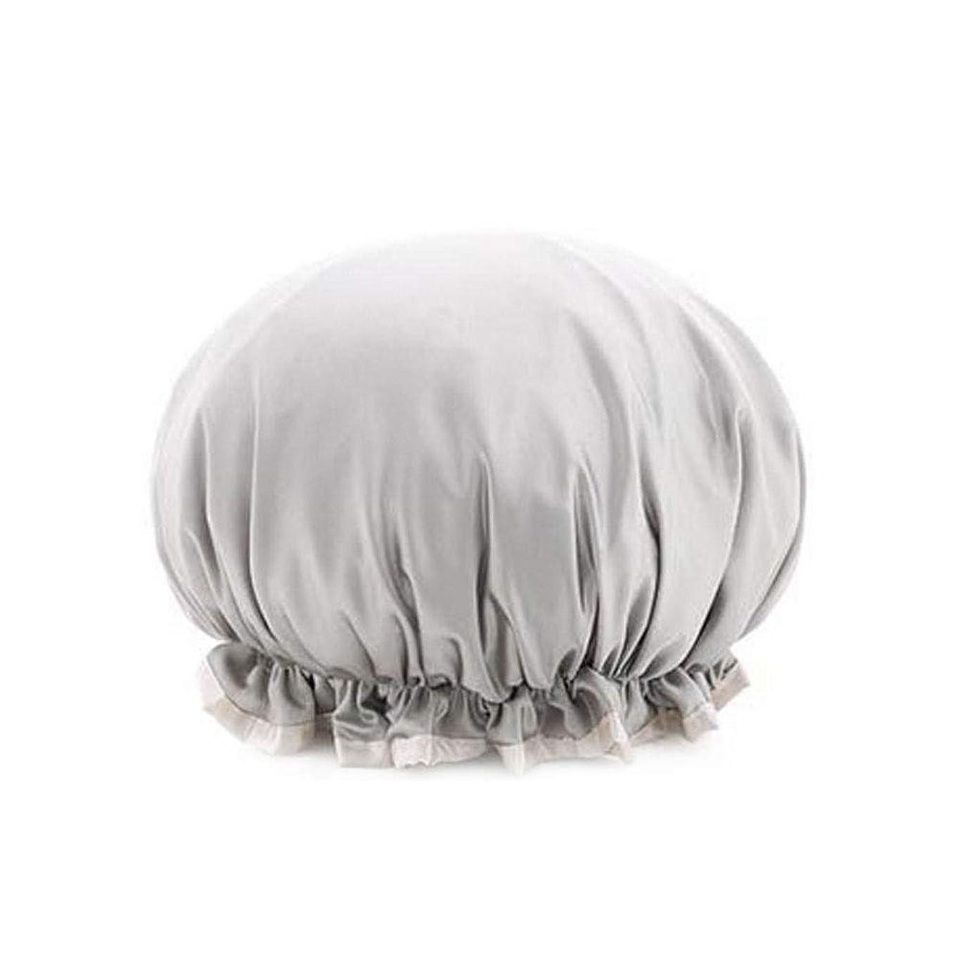 ポテト汚染された傾くシャワーキャップ、レディースシャワーキャップレディース用のすべての髪の長さと太さのデラックスシャワーキャップ - 防水とカビ防止、再利用可能なシャワーキャップ。 (Color : Silver gray)