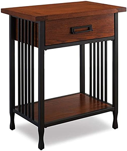 BOWERY HILL 1 Drawer Nightstand In Mission Oak