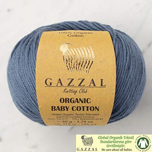 5 Ball (Pack) Gazzal Organic Baby Cotton Yarn, Total 8.8 Oz. 100% Organic Cotton, Each 1.76 Oz (50g) / 125 Yrds (115 m), 3 Light DK, Blue - 423