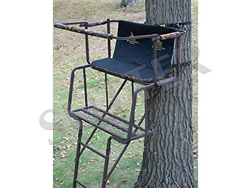 SUTTER Puesto de Caza de árbol transportable para 2 Hombres y Escalera de 4,5m / en Acero Robusto, Asiento y Respaldo tapizados