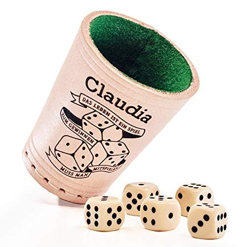 Diamandi Leder Würfelbecher mit Gravur | Ihr Name + Motiv zur Auswahl | + 6 Würfel | leise, innen grüner Filz