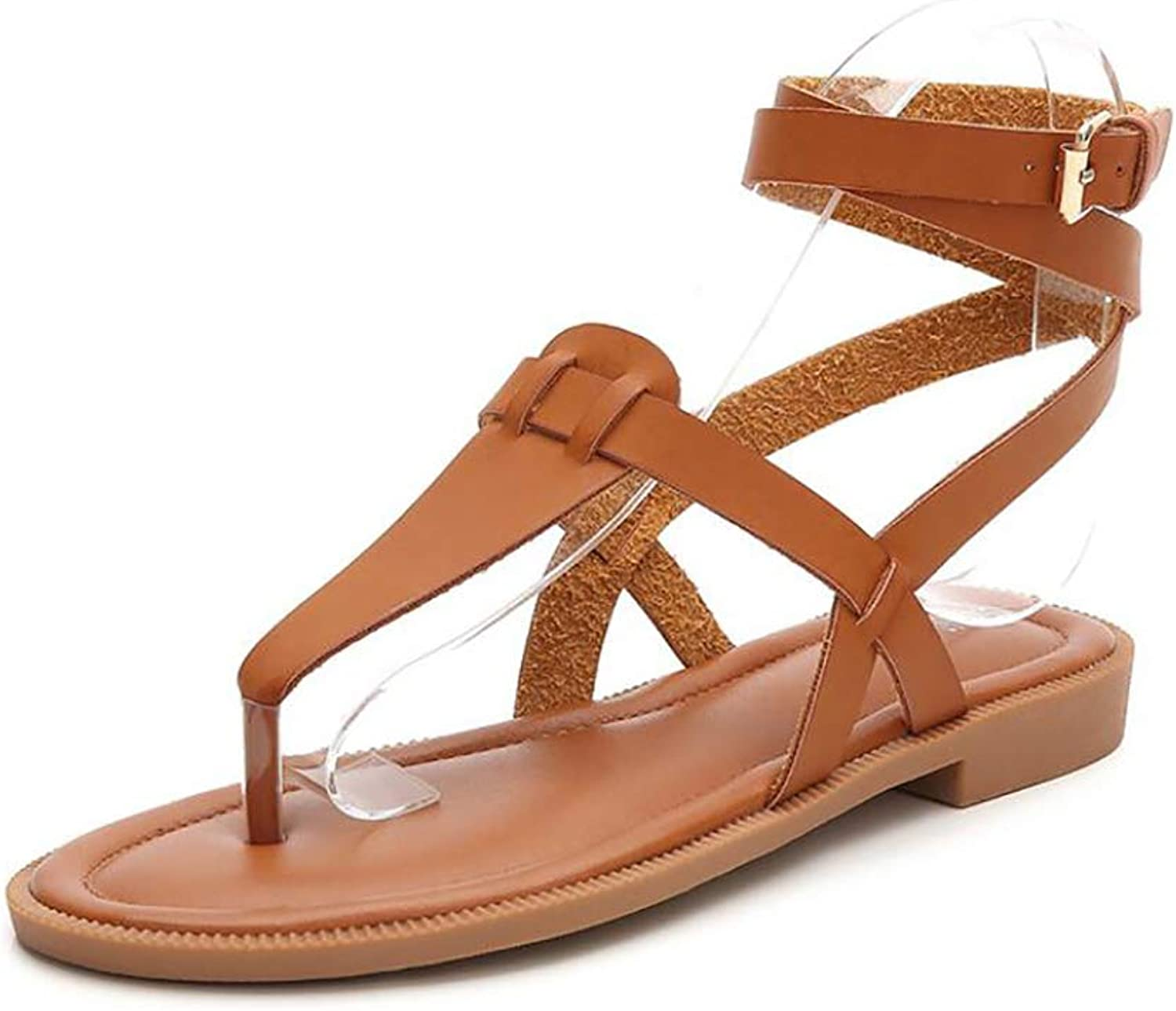 Summer Bohemia Flat Sandals Flip-Flops Rome Strap Buckle Open Toe Casual Cool Cozy Beach Slippers,Brown,40