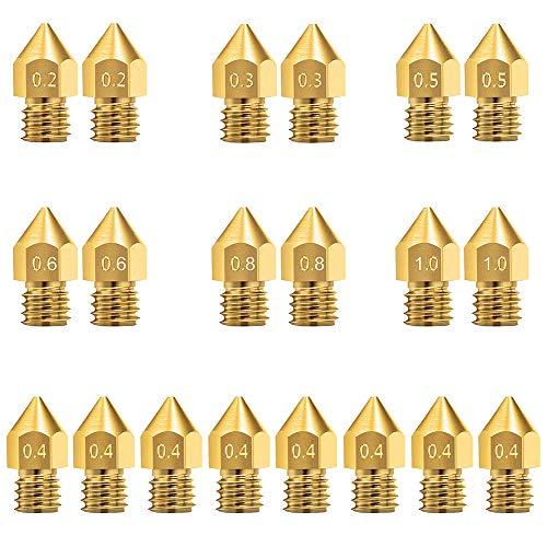 KeeYees 20 Stück 3D Drucker Düse, 0,2 mm 0,3 mm 0,4 mm 0,5 mm 0,6 mm 0,8 mm 1,0 mm MK8 Extruder Hotend Messing Düse Druckkopf für 1,75mm Filament 3D Drucker MK8 Makerbot RepRap Anet A8 / A6