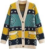 juew Mujeres Elegante Geometría Cárdigan Vintage Jumper Oversize Cardigan Abrigo, Color de la foto, Talla única