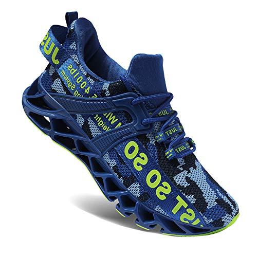 Wonesion Herren Schuhe Laufschuhe Herren Damen Sportschuhe Straßenlaufschuhe Sneaker Joggingschuhe Turnschuhe Walkingschuhe Traillauf Fitness Schuhe,4 blau,44