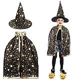 Capa y Sombrero de Bruja para Fiesta de Disfraces de Halloween para Niños, Capa de Brujo de Bruja de Halloween Capa de Brujo Mago Disfraces de Halloween para Niños (Negro)