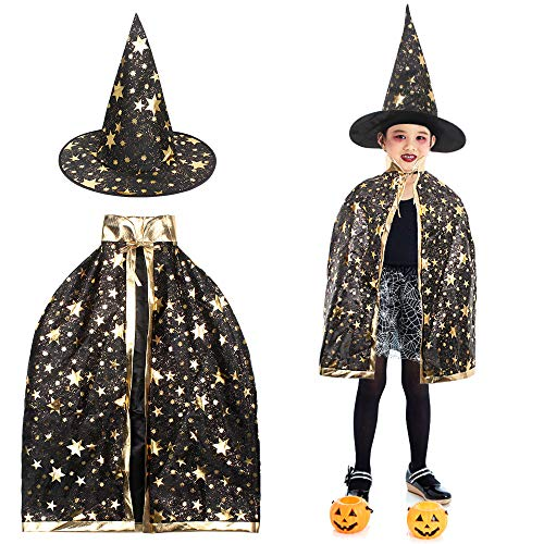Kinder Hexe Mantel Halloween Hexe Zauberer Umhang Halloween Magie Kostüme für Kinder, Zauberer Mantel mit Hut für Halloween Kostüm Cosplay Festivel Party Star Style