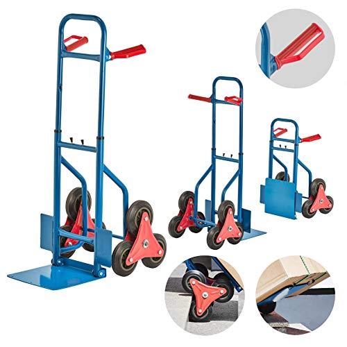 JOM Treppensackkarre/Treppensteiger, Material: Stahl, Treppenkarre, Sackkarre Verstellbar, Max. Belastbarkeit 200 kg