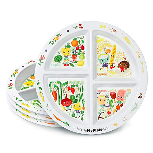 Portion Plate For Kids - Set of 4 Plates - Divided Sections - Portion Control - Weight Loss - Picky Eaters -MyPlate