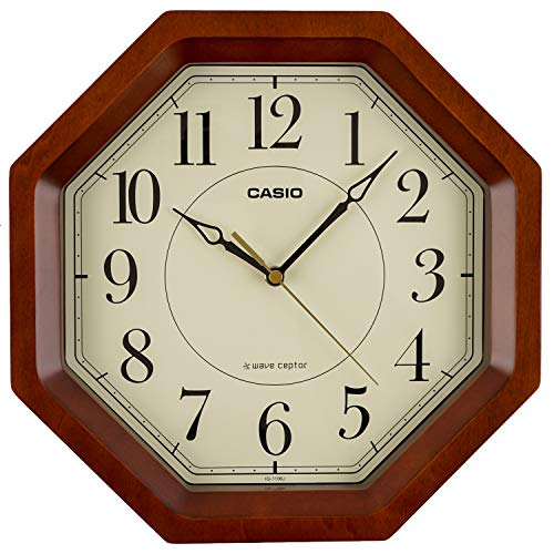 CASIO(カシオ) 掛け時計 電波 ブラウン 直径29.5cm アナログ 八角 木枠 IQ-1106J-5JF