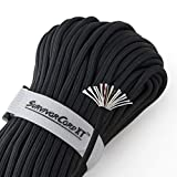 1,000 LB SurvivorCord XT | Black, 103 FEET | Patented Military Type IV 750 Paracord/Parachute Cord (7/32' Diameter) with Integrated Kevlar Thread, Braided Fishing Line, and Waterproof Fire Tinder.