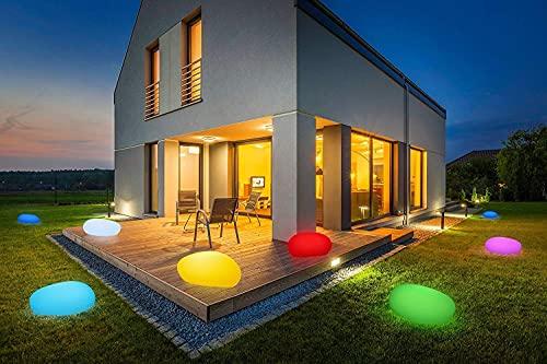 Solarlampen für Außen, wasserdichte Kugelleuchte im Stein-Design & Milchglas-Optik, 8+1 Farben, automatische Einschaltung, kabellose Außenleuchte mit RGB-Funktion, IP67 (50 cm)