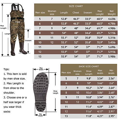 OXYVAN Waterproof Lightweight Fishing Waders with Boots for Men and Women