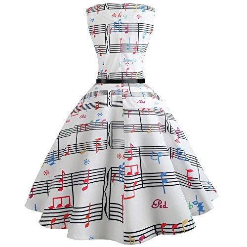 COZOCO Vestido de Verano Casual de Las Mujeres 50's Cinco Tonos Nota Musical Imprimir Nuevo 2019 Fiesta de la Mujer Vestido de Moda Vestido de Noche Corto Mini Vestido Informal de Playa(BlancoL