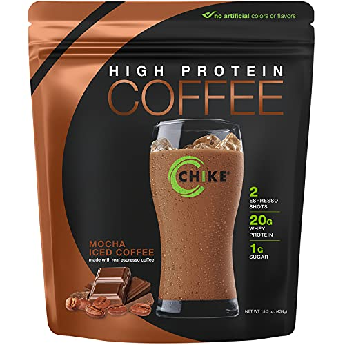 Chike Mocha High Protein Iced Coffee , 20 G Protein, 2 Shots Espresso, 1 G Sugar, Keto Friendly and Gluten Free, 14 Servings (15.3 Ounce)