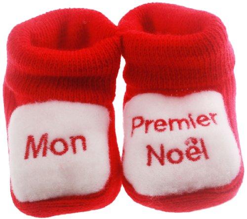 Chaussons bébé brodésMon premier noël Fdmp rouge/blanc 0/3mois