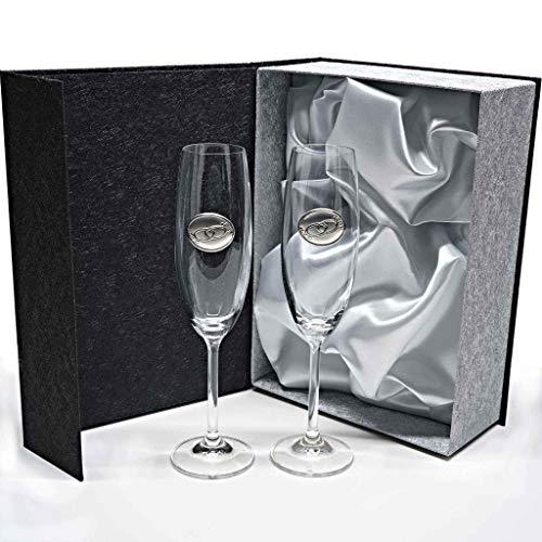 Set de 2 flûtes à Champagne en Cristal - pour Les palefreniers - Les Mariages Argent/Or - Anniversaires - Collection Gastro-ALIANZAS - Argent bilaminé.