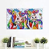 ganlanshu Imprimir en Lienzo Pintura del Cartel Daisy Cow-Canvas Art Prints-Wall Art Picture Decoración para el hogar para la Sala de Estar Posters-Frameless painting60x110cm
