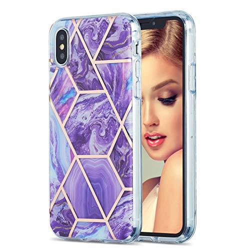 VQWQ Silicona Funda para iPhone X / iPhone XS 5.8' con Cuerda - Suave TPU Gel Carcasa con Correa Colgante Ajustable Protección a Bordes y Cámara Case para iPhone X / iPhone XS 5.8' [Mármol] - 6