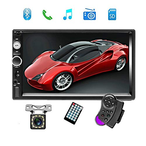"Price comparison product image Double Din Car Stereo Audio Radio with Bluetooth,  7"" Digital LCD Touchscreen Indash Head Unit AUX in / USB / TF / FM / MP3 Remote Control / Rear View Camera Input / Steering Wheel Control with Backup Camera"