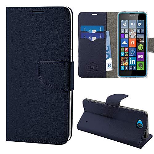 N Newtop - Funda compatible para Microsoft Lumia 640, HQ Lateral Funda Libro Flip Cierre Magnético Cartera Simil Cuero Stand (Azul)