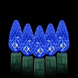 AIDDOMM LED Christmas Lights 70 Counts C6, for Outdoor and Indoor, Blue Light, Green Wire, 6in Spacing, 35.5ft, UL Listed