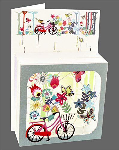 Forever Cards 3D Multi-Layered Magic Box Card - Floral Bicycle