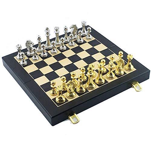 Juego de ajedrez Juegos Viajes Adultos Niños Juego de ajedrez de metal Juego portátil de ajedrez internacional Ajedrez de madera plegable Altura 67Mm Juego de ajedrez Pieza de rompecabezas informal, B