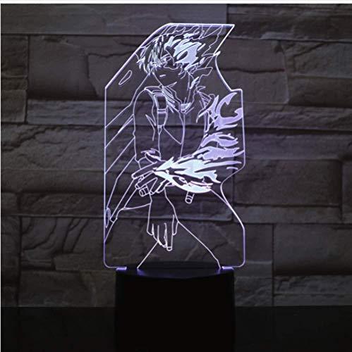 Luz de noche de ilusión LED 3D My Hero Academia Figura USB Niños Niños Regalos para bebés Lámpara de mesa de anime japonés Mesita de noche