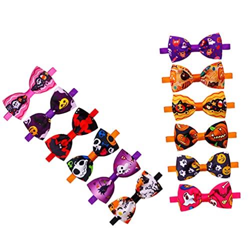 Toyvian 12 Collares de Halloween para Perros Collares de Bowknot Ajustables con Pumpkin Ghost Skull Bat Pattern Bowtie Collares para Perros Pequeños/Medianos/Grandes (Estilo Mixto)